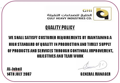 Quality Policy Gulf Heavy Industries Co